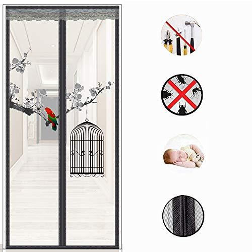 Drucken Fliegengitter Tür,vollrahmen Velcro Winddicht Mesh-vorhang Super Tight Self Closing Hände Frei Bugs Off Door Screen-a 70x200cm(28x79inch) -