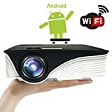 Beamer Android, SEGURO 1080P Wifi Video-Projektor LCD Beamer mit LED-Lampe Unterstützung HDMI, USB, SD Multimedia Heimkino Beamer für Xbox, TV BOX, Play Station, PC, Smart Home Entertainment Projektor