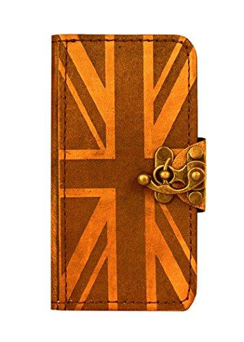 handgemacht, Vintage-Stil, Union-Jack-Dekoration Leder-Klappetui (mit Schloss für iPhone 6, Braun ()