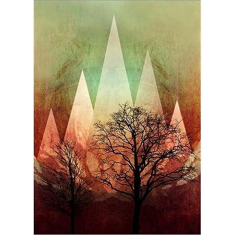 Stampa su legno 50 x 70 cm: TREES under MAGIC MOUNTAINS I A di Pia Schneider atelier COLOUR-VISION,