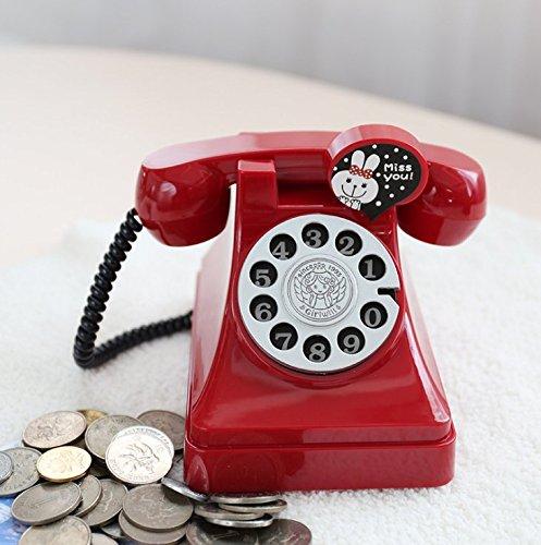 Gorkuor Kunststoff Retro Telefon Sparschwein kreative Kind Geschenk Student Münze Geld Bank (rot)...