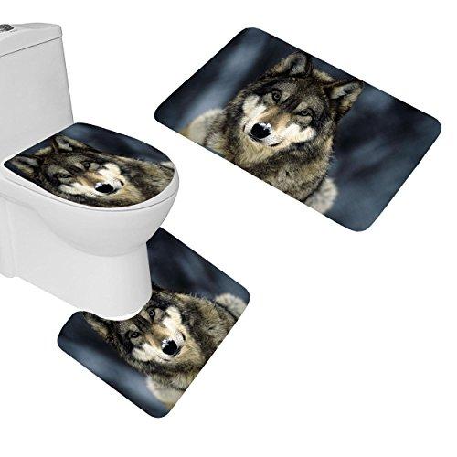 RedBeans 3-teiliges Badezimmer Matten Set Tiere Snow Nature Wolf Badteppich Set Rutschfeste Badezimmer Teppiche Contour Matte WC-Bezug - Natur-badezimmer-teppich