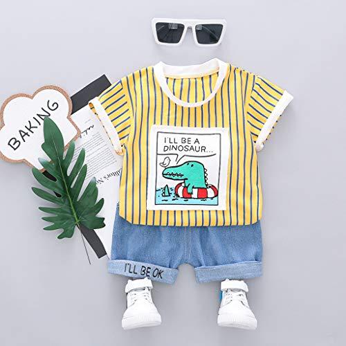 nkind Streifen Brief T-Shirt +Jeanshosen Shorts Sommer Outfits Sets,Kurze Ärmel Karikatur-Krokodil O-Neck Tops,Unisex,Niedlich Bequem ()