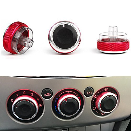 PolarLander 3pcs / Lot Klimaanlage Heat Control Switch Knopf Auto Styling Rot -
