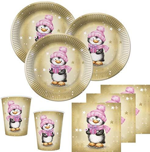 Teile Pinguin Mädchen in Rosa und Gold Deko Set für 16 Personen ()