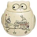Unbekannt 3D Design - Keksdose / Vorratsdose - lustige Eulen im Winter - mit Deckel - stabil aus Porzellan / Keramik - Bonboniere - groß Behälter Kekse - weiß edel - Pl..