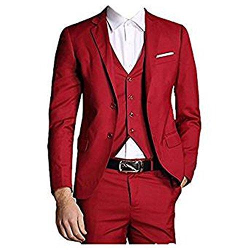 TPSAADE Jacken + Weste + Hose 2017 neue Slim Fit Männer Anzug Custom Marke Mode Bridegroon Business Kleid Smoking Hochzeit rote Anzüge Blazer (Kostüm Homme Mode 2017)
