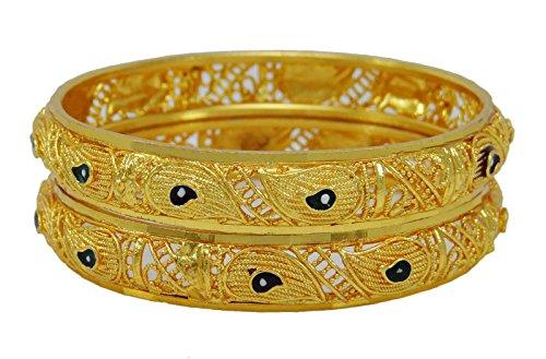 Banithani Designer Indische 2 Stück Kada Armreif Gesetzt Traditionelle Armbänder Schmuck 2 * 8