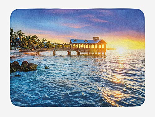 United States Bath Mat, Pier at Beach in Key West Florida USA Tropical Summer Paradise, Plush Bathroom Decor Mat with Non Slip Backing, 23.6 W X 15.7 W Inches, Pale Blue Yellow Green -
