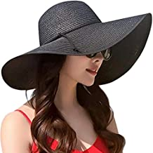 DRESHOW Sombrero de playa Floppy para mujer Sombrero de paja de ala ancha  Sun Roll Roll 939c347052f
