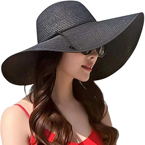 DRESHOW Damen Schlaff Strand Hut für Frauen Große Krempe Stroh Sonnenhüte Aufrollen Packbar UPF 50+ (Style B-black, Einheitsgröße) (Floppy-hut)