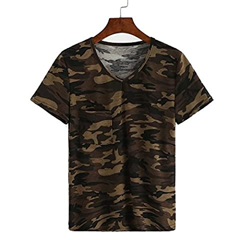 OVERMAL Camouflage Fashion Print Loose Women Blouse à manches courtes Casual Hauts T-shirt (XL)
