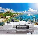 Xbwy Foto Personalizzata 3D Wallpaper L'Isola Balneare Di Spiaggia Assolata Decorazione Pittura 3D Parete L Wallpaper Per Soggiorno-150X120Cm