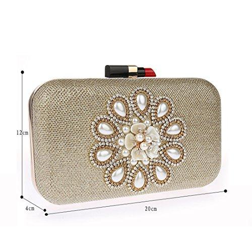 KAXIDY Luxus Damen Clutch Abendtasche Damentasche Handtasche Brauttasche Gold