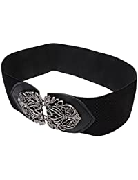 Generic Womens Ladies PU Leather Wide Embellished Elastic Buckle Waist Belt - black, One Size