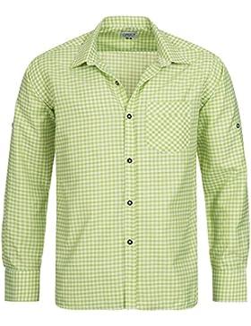 Gaudi-Leathers Herren Trachtenhemd mit krempelbaren Ärmeln Grün Weiß Kariert für Oktoberfest