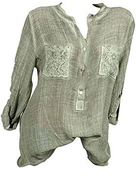 Hibote Blusa Donna Encaje Camisa Manga Larga Top Suelto Color Sólido O Escote Camisas Súper Suave Cómodo