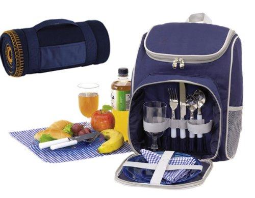 Picknickrucksack für 2 Personen mit Kühlfach in Blau + Picknickdecke