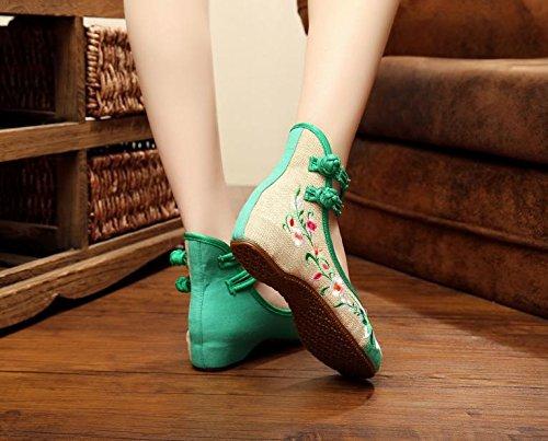 Longa Verdes Sapatos Étnico Moda Convenientes Estilo Bordados Sapatos Anm Feminina Finos Dança Único wt7dUqC
