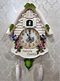 ZLQF Orologio A cucù in Vero Legno Alimentato A Batterie A Quarzo Suona Il Richiamo del Cuculo A Cinque Foglie Clock, 22 Cm,D
