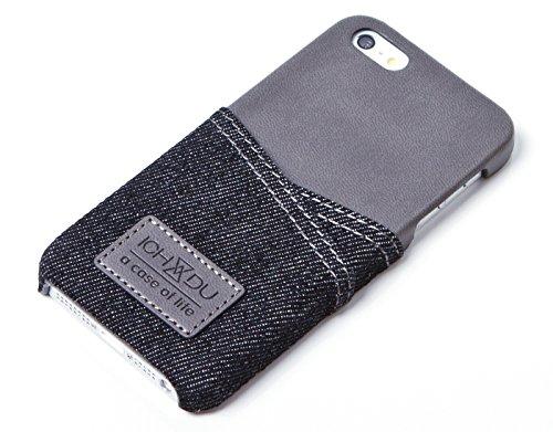 Hülle für Apple iPhone SE, Backcover im Jeans-Look, Case in Braun oder Schwarz von ICH&DU (Iphone 4 Etui Welt Karte)