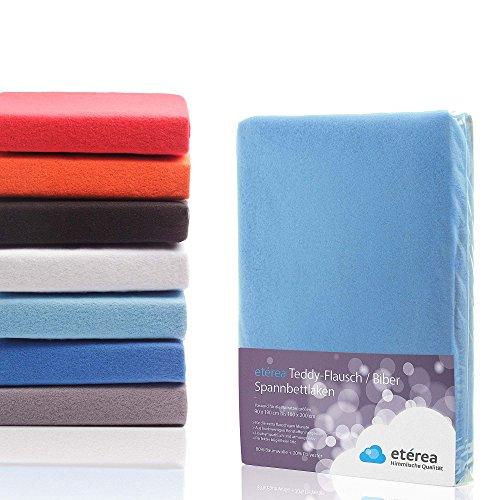 etérea Teddy Flausch Spannbettlaken, Microfaser Baumwolle Spannbetttuch Hellblau, 100x200 - 120x200 cm (Microfaser Baumwolle)