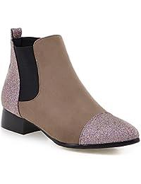 ZQ Zapatos de mujer - Tacón Bajo - Punta Redonda - Oxfords - Casual - Semicuero - Negro / Amarillo / Gris , black-us7.5 / eu38 / uk5.5 / cn38 , black-us7.5 / eu38 / uk5.5 / cn38