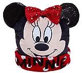 Disney - Berretto invernale glitterato, con fodera in lana, per ragazze/bambine, con Minnie Mouse 3D nero/rosso. 54 cm