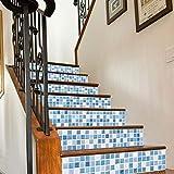 Quner Treppe Aufkleber, Vintage Mosaikmuster Selbstklebend Wasserdicht DIY Wandtattoo PVC 6 Stück Treppen Abziehbild Dekor Entfernbare Abziehbilder