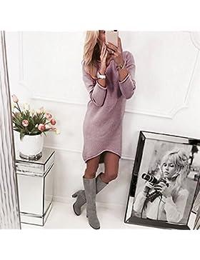 Longra ❤️ Moda Mujer Jersey Invierno Suéter Largo Mangas Gris Largas Vestido Corto Elegante, Pullover Ropa