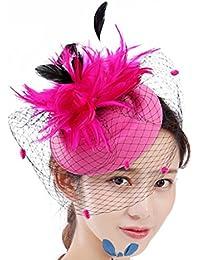 DZW Tul Pluma Arco-Nudo Sombreros Bowler Fascinator Diadema para Niñas Y  Mujeres cf57e0ad698