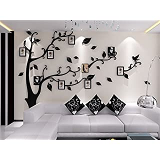 Alicemall 3D Wall Stickers Photo Frames FamilyTree Wall Decal Easy to Install &Apply DIY Photo Gallery Frame Decor Sticker Home Art Decor (black)