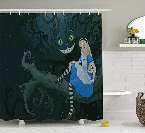 erland Dekorationen Duschvorhang Set Alice auf AST sitzend mit Chescire Katze in Dunkelheit gestreift Cartoon Liebe Badzubehör lang dunkelgrün ()