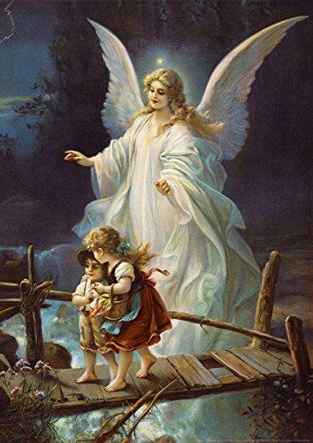 Postereck - 0154 - Schutzengel und Kinder, Altes Gemälde - Poster DIN - A4-21.0 cm x 29.7 cm