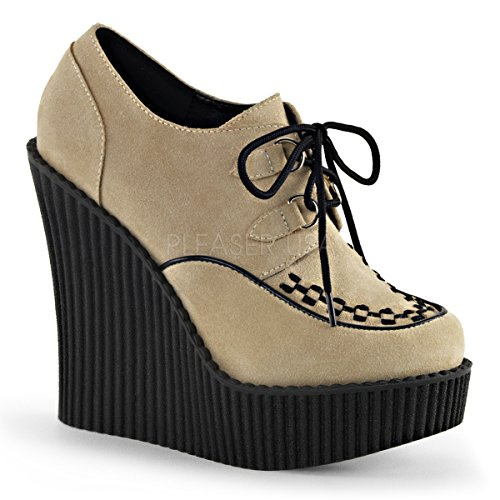 Pleaser Creeper-302, Scarpe da Ginnastica Donna Cream Vegan Suede