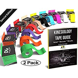 Physix Gear Sport Kinesiology Tape - Free Illustrated E-Guide - 5cm x 5m Uncut Roll - Best Pain Relief Adhesive for Muscles, Shin Splints Knee & Shoulder - 24/7 Waterproof Therapeutic Aid (2PK BLK)