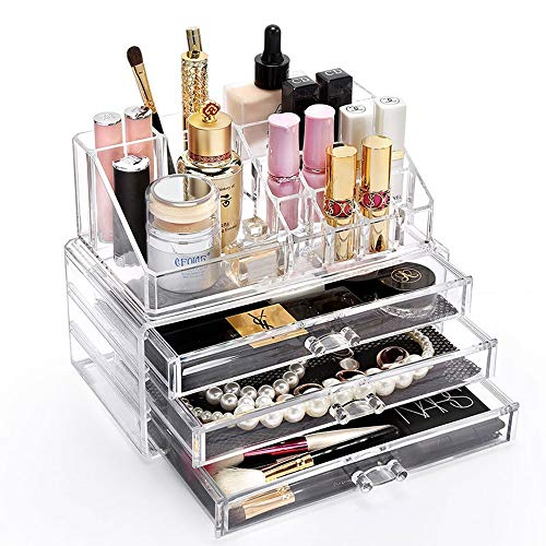 Transparente Make-up Organizer, Quader Schublade Acryl Beauty Case Acryl klar kosmetische Schmuck Display Aufbewahrungsbox plus Lippenstift Halter Fach Oberteil - Höhen-schlafzimmer-kollektion
