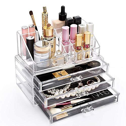 Transparente Make-up Organizer, Quader Schublade Acryl Beauty Case Acryl klar kosmetische Schmuck Display Aufbewahrungsbox plus Lippenstift Halter Fach Oberteil -