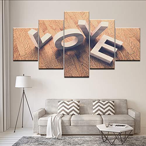 myvovo (Kein Rahmen) Modulare Leinwand Home Decor Poster 5 Stücke Liebe Würfel Wort Ansicht Gemälde HD Druckt Wandkunst Brief Bilder Wohnzimmer