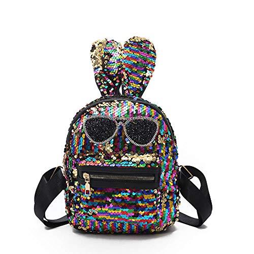Ljshu paillettes borsa carino personalità coniglietto forma borsa da viaggio studente borsa,color