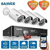 Sannce 1080P(1920*1280)POE NVR Kit di Videosorveglianza 4 Canali,Sistema di sicurezza,4*2 Mega Bullet IP Telecamera,100ft IP66,Motion Detection,E-mail Allarme,P2P, 1TB HDD Preinstallato