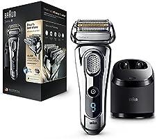 Braun Series9 9296cc Rasoirs Électriques Homme Barbe Wet&Dry; Station Clean&Charge et Pochette de Voyage-Chrome