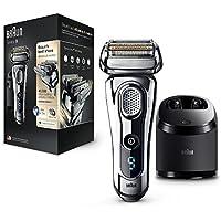 Braun Series9 9296cc Rasoirs Électriques Homme Barbe Wet&Dry; Station Clean&Charge et Pochette de Voyage–Chrome