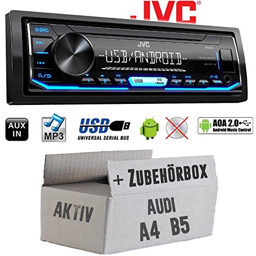 Autoradio Radio JVC KD-X151 | MP3 | USB | Android 4x50Watt - Einbauzubehör - Einbauset für Audi A4 B5 Aktiv - JUST SOUND best choice for caraudio