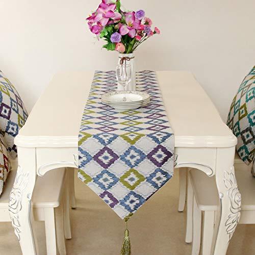 Qinqin666 Rechteckige Tischläufer-Polyester-Gewebe-Inneneinrichtung für Partei-Hochzeit Blau 32x200cm -