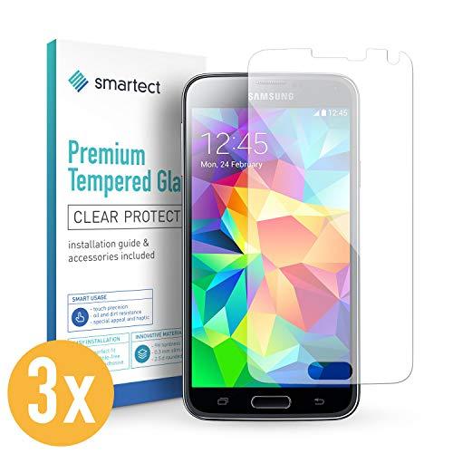 smartect Pellicola in Vetro Temperato per Samsung Galaxy S5 / S5 Neo [3 Pezzi] - Pellicola Protettiva con durezza 9H - Salvaschermo Anti-Impronte e Anti-Bolle