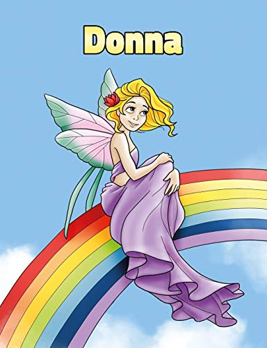 Donna: Personalized Composition Notebook - Wide Ruled (Lined) Journal. Rainbow Fairy Cartoon Cover. For Grade Students, Elementary, Primary, Middle School, Writing and Journaling