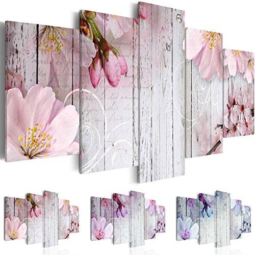 Cuadro en Lienzo 200x100 cm ! Tres colores a elegir - 5 Partes - Formato Grande - Impresion en calidad fotografica - Cuadro en lienzo tejido-no tejido - Flor Madera b-A-0242-b-n 200x100 cm B&D XXL