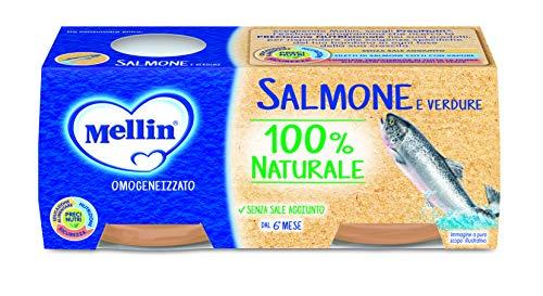 Mellin Omogeneizzato di Salmone e Verdure 100% Naturale 24 Vasetti da 80 gr