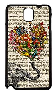 Samsung Galaxy Note 3 III N9000 N9005 Funky Elephant Newspaper Flower Trunk Design Fashion Trend Coque arriere Coque Case